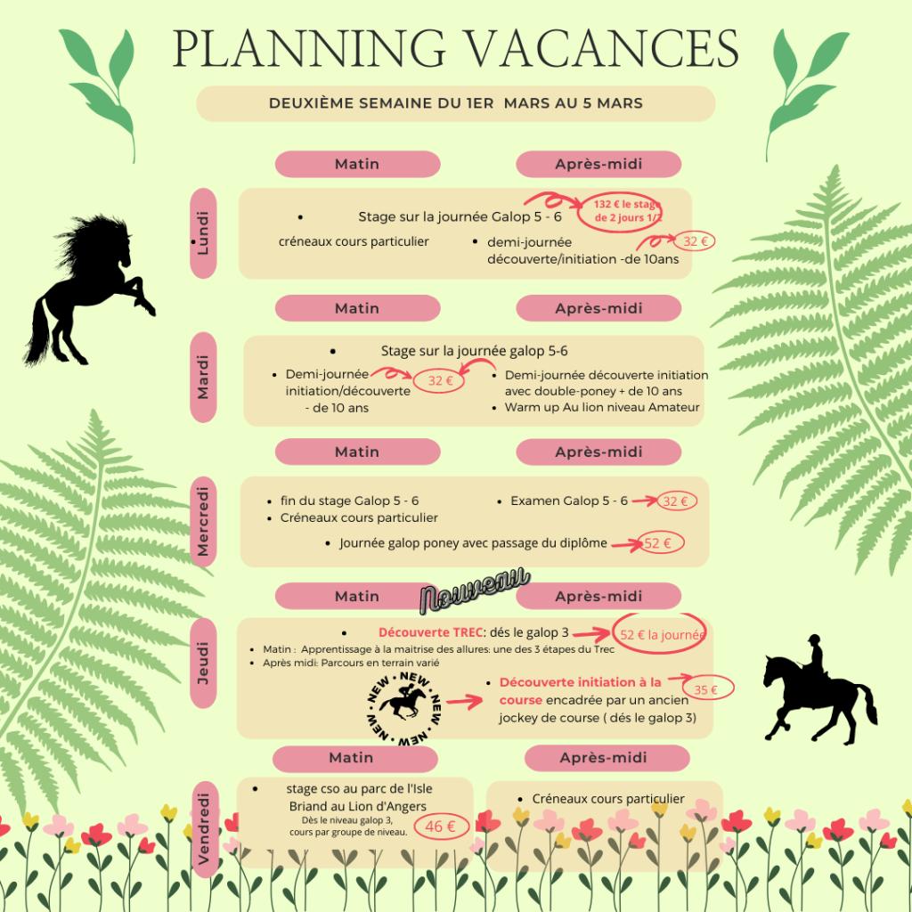avtivités équitation mars 2021